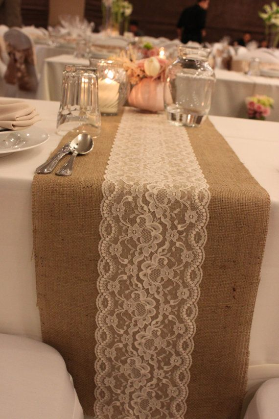 Burlap-Lace-Table-Runner-along-with-rose-gold-and-blush-details-for-center-pieces