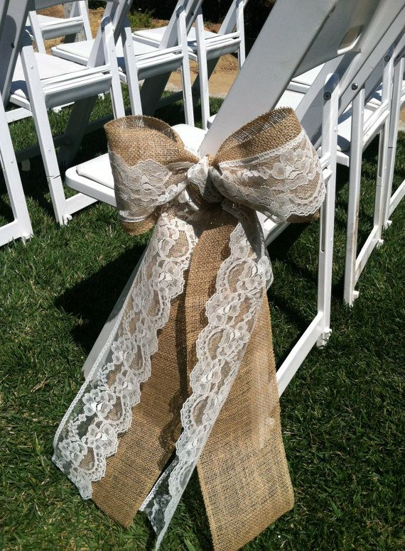 Burlap-and-Lace-Wedding-Ceremony-Bow-Aisle-Decorations