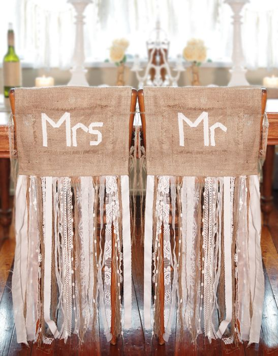 Burlap-and-lace-wedding-ideas-Mr.-Mrs.on-burlap-with-floor-length-ribbons