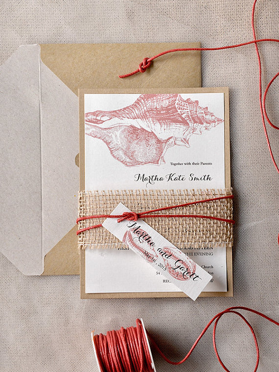 Coral-Wedding-Invitation-Beach-wedding-invitation-Burlap-Belly-Band-Seashell-Invitation