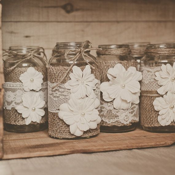 Lace-and-burlap-wedding-centerpieces