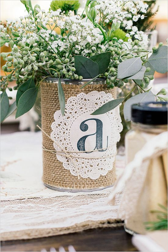 Rustic-Ideas-for-Wedding-can-with-burlap-and-doillie-with-monogram-